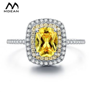 MDEAN White Gold Color Round Rings for Women Engagement Wedding Yellow AAA Zircon Jewelry Bague Bijoux Size 6 7 8 9 H057