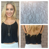 Black Lace Crop Tank