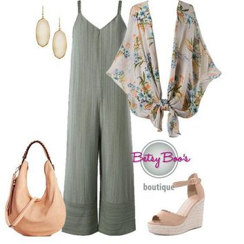 (pre-order) Set 408: Sage Jumpsuit with Kimono (shoes & bag sold separately)