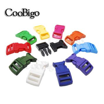 "100pcs Colorful 5/8"" Curved Side Release Buckles Plastic Paracord Bracelets Dog Collar Backpack Strap Bag Parts #FLC009(Mix-s)"