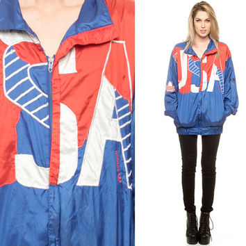 USA Windbreaker Jacket ADIDAS Americana OLYMPIC 80s 90s Shiny Nylon American Track Jacket Coat Vintage Red White Blue 1980s Medium Large