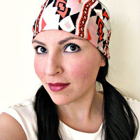 Bohemian Aztec Tribal Headwrap, Coral, White and Black geometric print Bandana headwrap