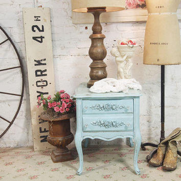Painted Cottage Chic Shabby Aqua Romantic French Lamp Table ENT07