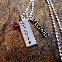 Personalized Jewelry, Hand Stamped Jewelry, Military Jewelry, Military Necklace, Marines Jewelry, Marines Necklace