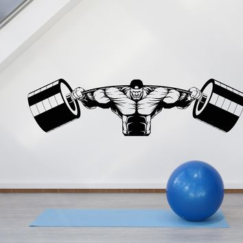 Vinyl Wall Decal Muscular Man Gym Barbell Iron Weight Stickers Unique Gift (1987ig)
