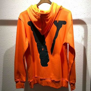 Supreme ¡Á vlone Fashion Embroidery Logo Hooded Sport Top Sweater Sweatshirt G-YF-MLBKS