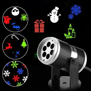 LED Projector Light RGB Wall Lamp Image Projection Lights with 4 Gobo Slides for Xmas New Year holiday Indoor Use UK Plug