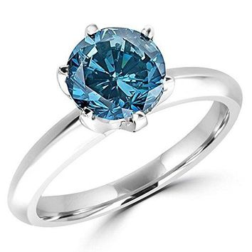 CERTIFIED | 1/2 - 5 Carat Total Weight Round 14K White Gold blue Diamond Ring (AAA Quality) (White)