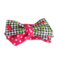 Cherry Pie Bow for baby girl & toddler / Handmade headwrap, turban, headband, pony tail. Oversized, cute, hair accessory for your princess!