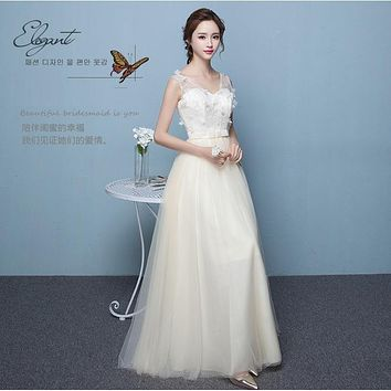 V-neck Tulle Flowers Back Lace Up Empire Long Party Bridesmaid Dress