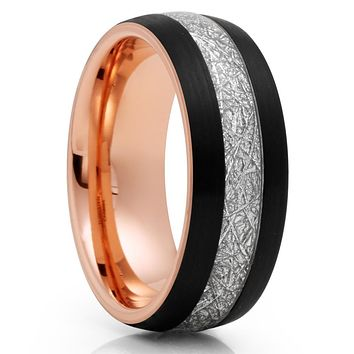 Rose Gold Tungsten Wedding Band - Meteorite Wedding Band - Black