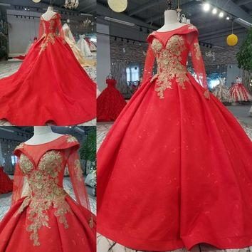 Princess Lace Embroidery Modern Wedding Dresses Long Sleeve New 2018 Formal Bridal Gown Custom Size Plus Size