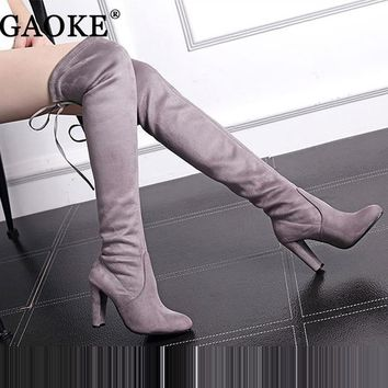 Women's Suede Thigh High Boots Over the Knee Boots Stretch Sexy Botas Overknee High He