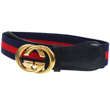GUCCI GG Logos Vintage Web Stripe Belt Navy Red Canvas Leather Italy Auth L800 M