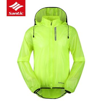 SANTIC Mtb Cycling Jackets Green Light Raincoat Windbreaker Men Women Ciclismo Long Down Jacket Outdoor Riding Bike Bicycle Coat
