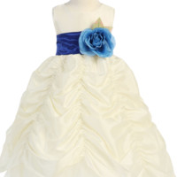 Ivory Taffeta Blossom Flower Girl Gown with Shirred Pick up Skirt (Girls 2T - Size 12)