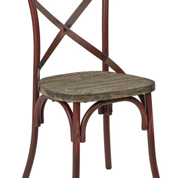 Office Star Somerset X-Back Antique Red Metal Chair with Hardwood Rustic Walnut Seat Finish [SMR424WAS-ARD]