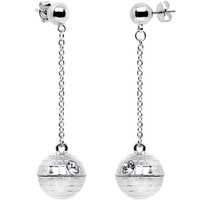 2:07:47:26 | Officially Licensed Steel Star Wars Death Star Stud Dangle Earrings | Body Candy Body Jewelry