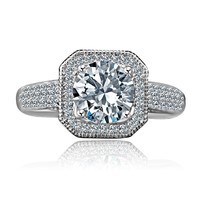 2 CT. Round Stunning vintage micro pave halo engagement fully Pave upper Shank Sterling Silver Ring, Simulated Diamond - Diamond Veneer 635R4002