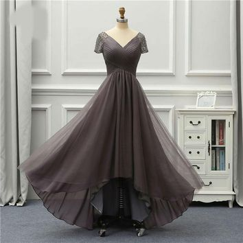 Luxury Evening Dress Front Short Long Back Short Sleeves Party
