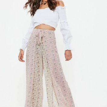 Missguided - Pink Paisley Print Tie Waist Pants