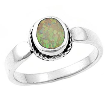 .925 Sterling Silver Rainbow Pink Opal Ladies Ring Size 5-9 Oval Cut Solitaire