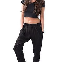 LADIES HIGH WAIST LOOSE FIT CONTRAST FAUX SATIN SIDE PANEL TROUSERS/JOGGERS
