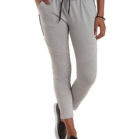 Gray Paneled French Terry Skinny Pants by Charlotte Russe