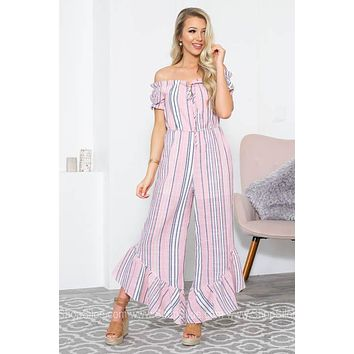 Ruffle Flutter Wide Leg Striped Jumpsuit