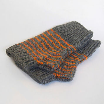 one of a kind wool free wristwarmers-- the condyle in grey heather and burnt orange