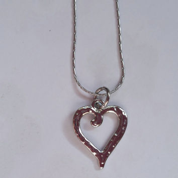 Heart Necklace, Valentines Day Gift, Gift For Her, Silver Plated Chain,  Silver