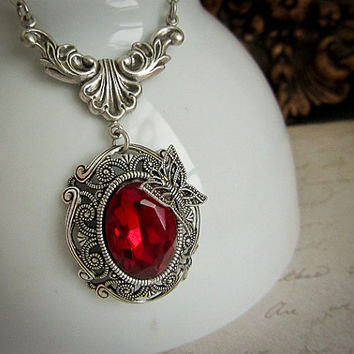 Ruby Red Vintage Glass Necklace Rhinestone Necklace Siam Silver drop Pendant Butterfly
