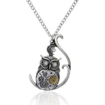 Moon Necklaces Link Curb Chain Antique Silver Halloween Owl Moon Gear Pendant
