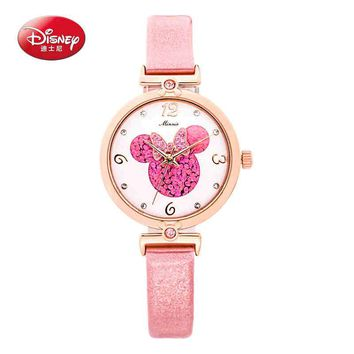 Authentic Disney brand Luxury quality Girls bling rhinestone leather charming watch Women Minnie fashion casual quartz watch