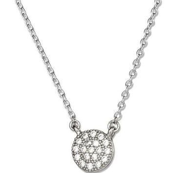 Sterling Silver Short Chain Micro Pave Round Disc Cubic Zirconia Button Necklace