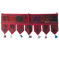Red Vintage Tribal Bohemian Patchwork Window Valance Topper on RoyalFurnish.com