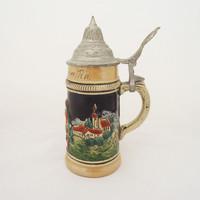Vintage Western German Beer Stein,  Egon Bay Small Beer Stein, Western German Lidded Stein