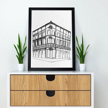New Orleans print, Architecture artwork, Ink Drawing, Black and White print, NOLA drawing, Large size print, French quarter, living room art