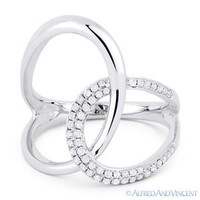 0.25ct Round Cut Diamond Right-Hand Overlap Loop Fashion Ring in 14k White Gold