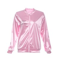 Halloween Pink Lady Retro Jacket Womens Fancy Grease Costume Cheerleader  Coats