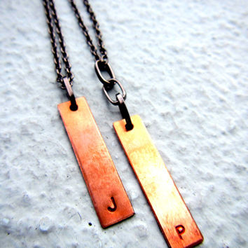 Matching Personalized Couple Necklace Initial Necklace Handstamped Necklace Monogram Necklace Customized Necklace Mixed Metal Jewelry