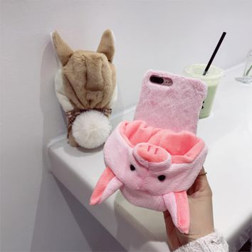 Christmas Hat Case For iPhone 6 6S Plus Cover Cute Animal Rabbit Fur Hat Villus Case For iPhone X 8 iPhone 7 7 Plus Phone Fundas
