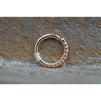 Tiny Twisted Rose Gold Hoop Earring 16 Gauge