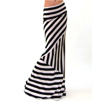 Fashion Feminine Elegant Skirts Women Asymmetric High Waist Striped Fold Over Stretch Long White Maxi Skirt Beach Skirt