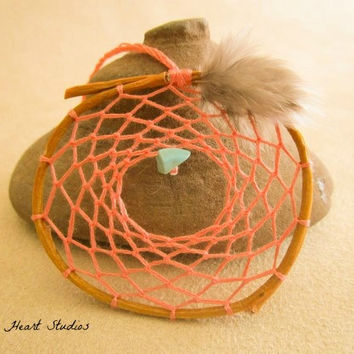 Coral Pink dream catcher - turquoise stone - tiny - small - little - 2 inch charm