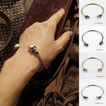 Skull Bangle Cuff Vintage Opening New Jewelry 3 Colors = 1946456196