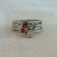 Stack Rings Four Pink Amethyst Blue Clear Rhinestones Silvertone Metal Size 6.25 Sparkling Jewerly