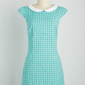 Do You Read Me? Dress in Turquoise Checks