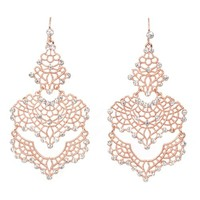 Heirloom Finds Rose Gold Tone Crystal Filigree Tiered Chandelier Earrings Spectacular for Day or Night