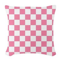 Pink And White Squares Woven Throw Pillow> Pink And White Squares > Allcolor